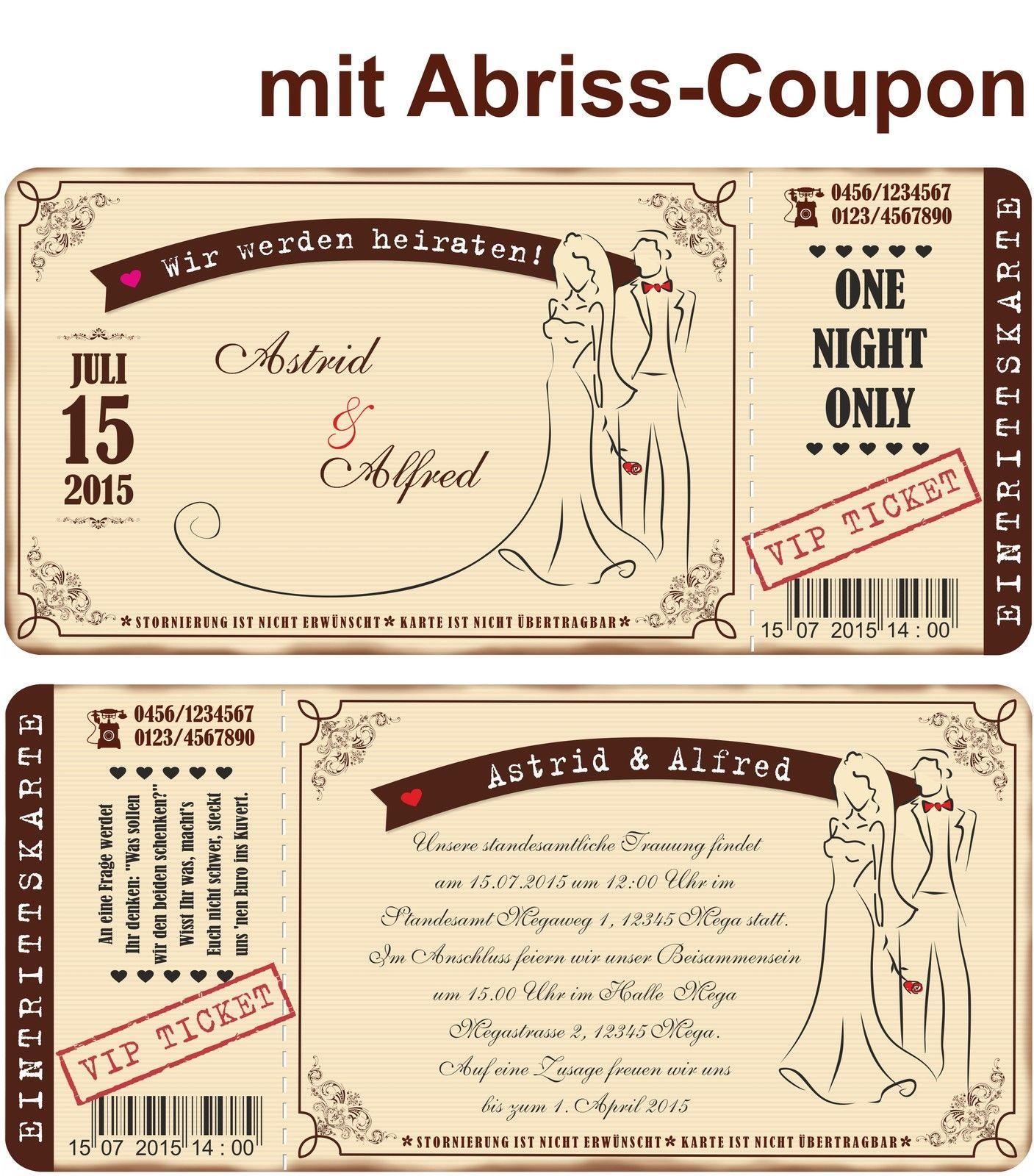 Details zu hochzeiteinladung Für mit Abriss-Coupon VIP Ticket ... - Einladungskarten Vip Ticket