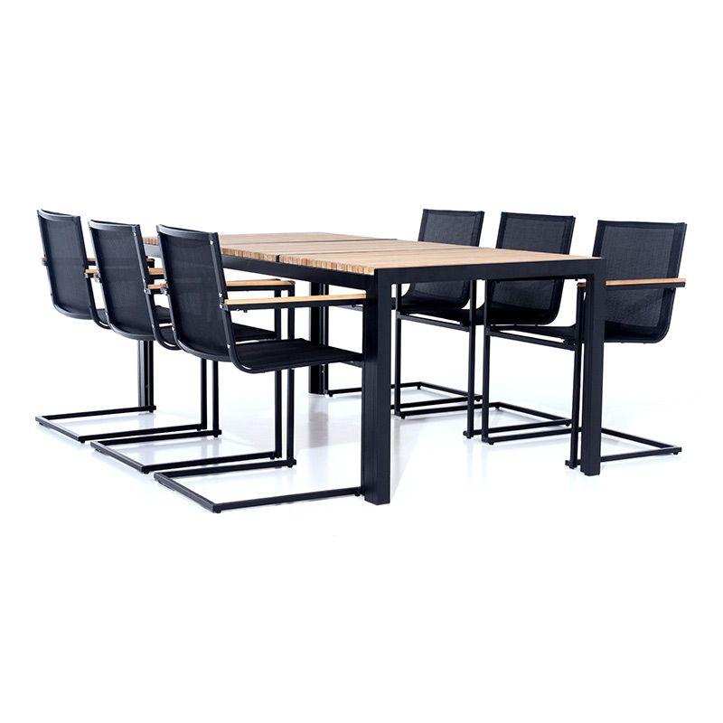 Matgrupp sensum ekeby & skuru teak svart bord + 6 stolar