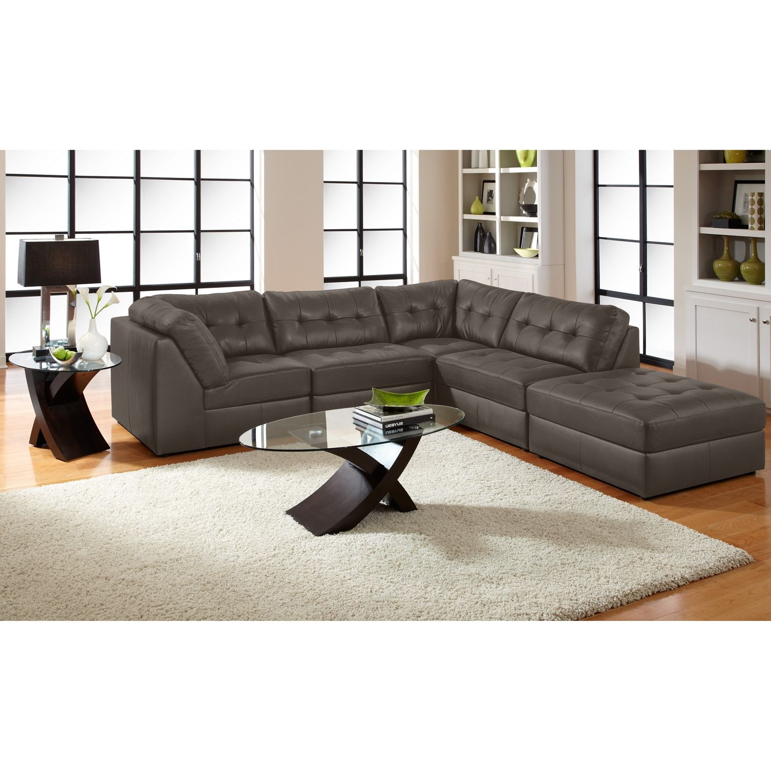 Aventura III Leather 5 Pc. Sectional And Cocktail Ottoman   Value City  Furniture