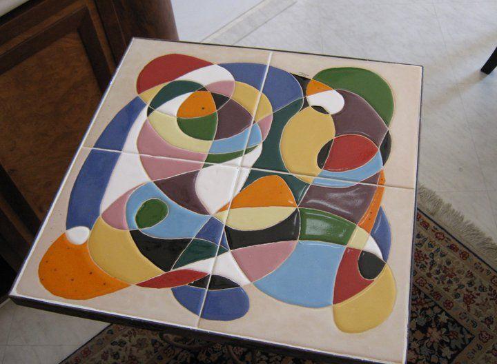 Mesa com tecnica corda seca ceramica pinterest mesas for Tecnicas para esmaltar ceramica