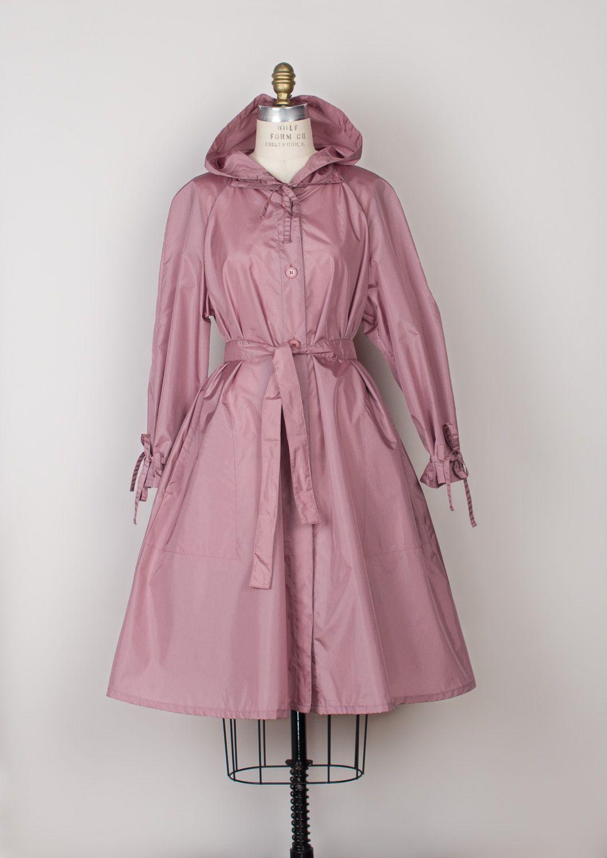 de217221469 Vintage Nylon Raincoat - 1970s Dusty Rose Pink Lightweight Hooded ...