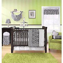 Black And White Bedding W Green Nursery Crib Bedding