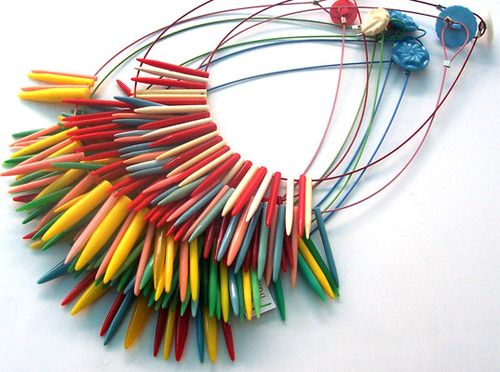 recycled upcycled Plastic Knitting Needles Necklace by: Liana Kabel ...