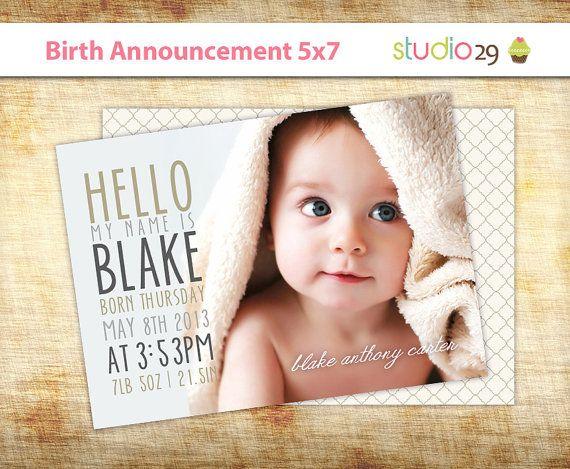 Birth Announcement Neutral Baby Announcement Card Photo – Baby Announcement Cards Etsy