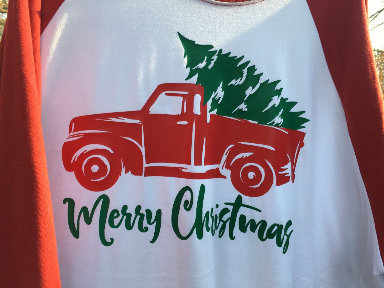 Christmas Tree Old Fashioned Truck Raglan Tshirt; Red Truck with ...