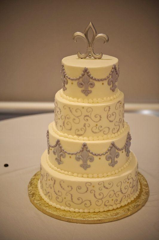 Fleur De Lis Cake Wedding Cake Gold Purple White Catmat287 Krewe