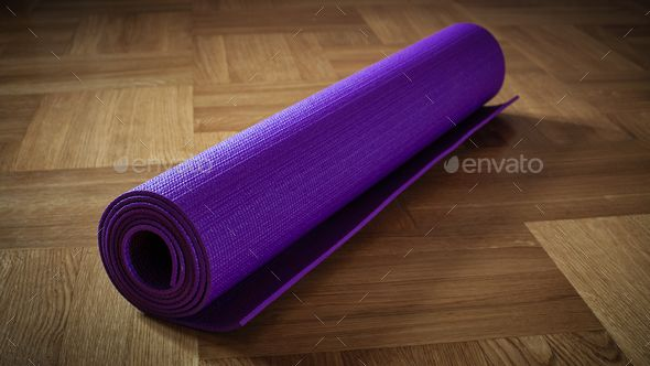 Yoga mat on floor by f9photos Yoga background banner C panoramic image of yoga mat on wooden floor