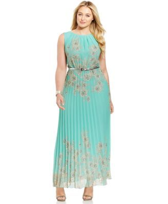ac098d4040 Jessica Howard Plus-Size Floral-Print Pleated Maxi Dress