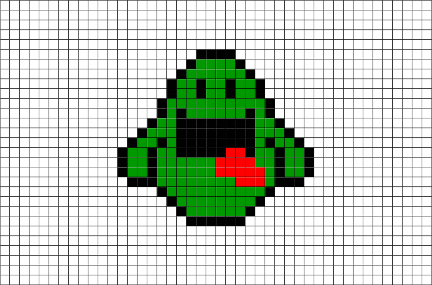ghostbusters slimer pixel art