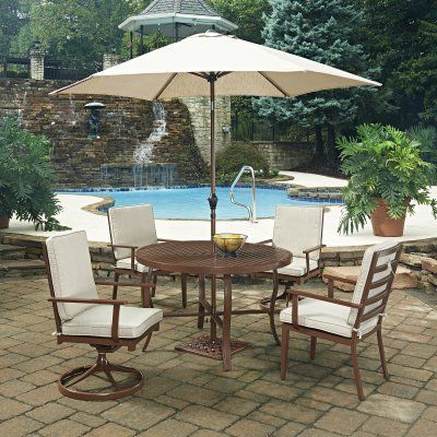 Home Styles Key West 7 Piece Round Outdoor Patio Dining Set with ...