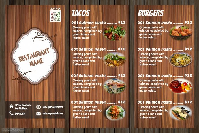 Awesome Restaurant Menu Flyer Wood Background Professionally
