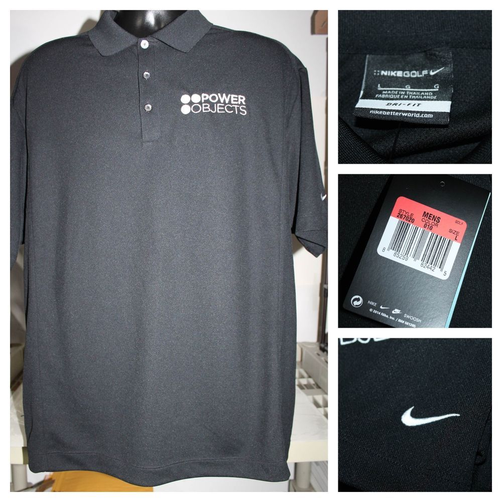 cb76e16fec84 Mens Nike Golf Solid Classic Black polo Shirt Top Dri-Fit Large NWT 267020-010   fashion  clothing  shoes  accessories  mensclothing  activewear  ad (ebay  ...