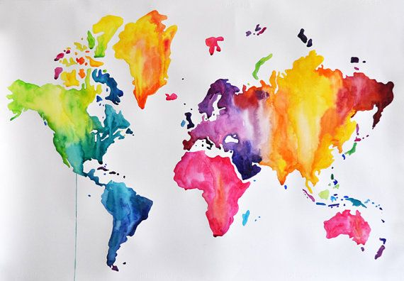 Original Abstract Rainbow Colored World Map Watercolor Painting