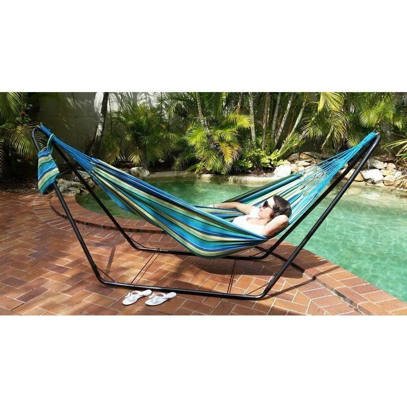 medium outdoor canvas hammock in blue and yellow   buy hammocks medium outdoor canvas hammock in blue and yellow   buy hammocks      rh   pinterest