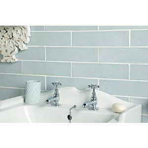Wickes Farmhouse Duck Egg Ceramic Wall Tile 300 x 75mm ...