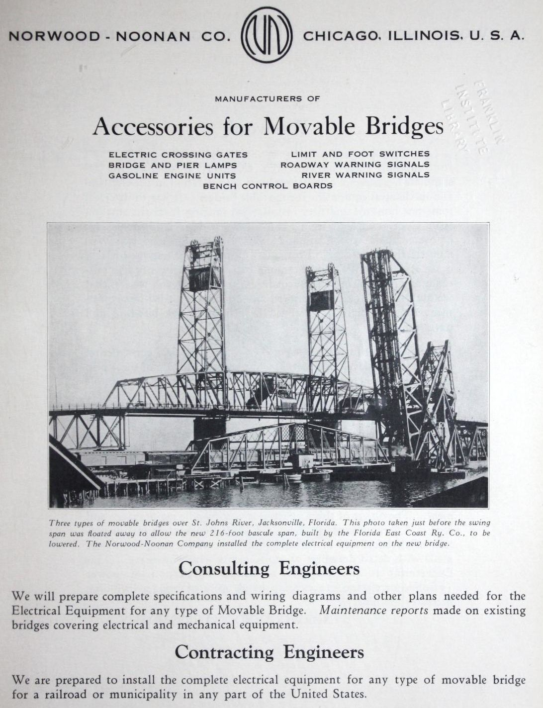 Accessories For Movable Bridges Electric Crossing Gates Warning Swing Gate Wiring Diagram Signals Roadway And River Gasoline Engine Units Norwood Noonan Co