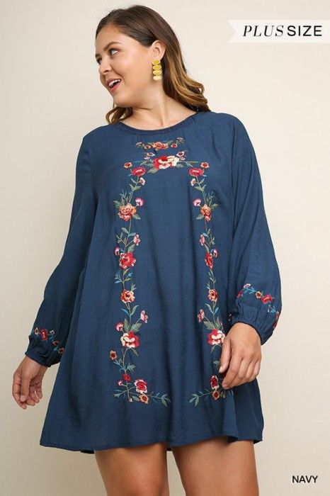 b9a1e0156 Umgee Plus Navy Embroidered Dress with Puff Sleeves
