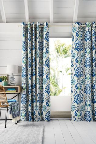 Buy Blue Ikat Print Eyelet Curtains From The Next Uk