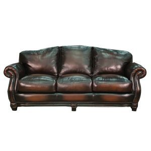 88 Antique Brown Leather Sofa Monroe Collection Vintage