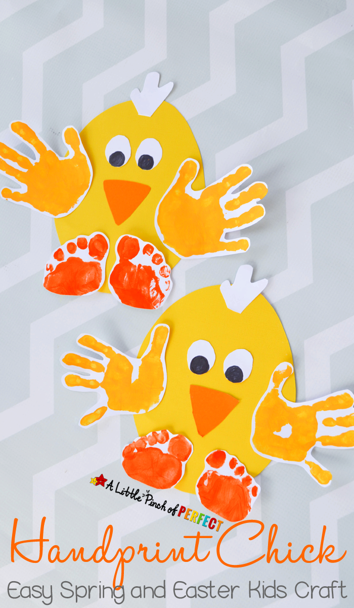 Handprint Chick: Easy Spring and Easter Craft for Kids-perfect to make for spring, Easter, or while enjoying farm themed activities.