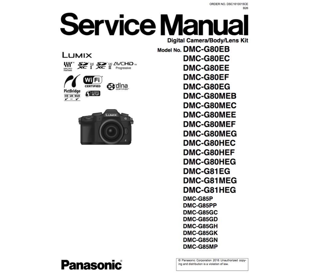 Panasonic Dmc G80 81 85 Service Manual Complete Panasonic Digital Camera Spare Parts