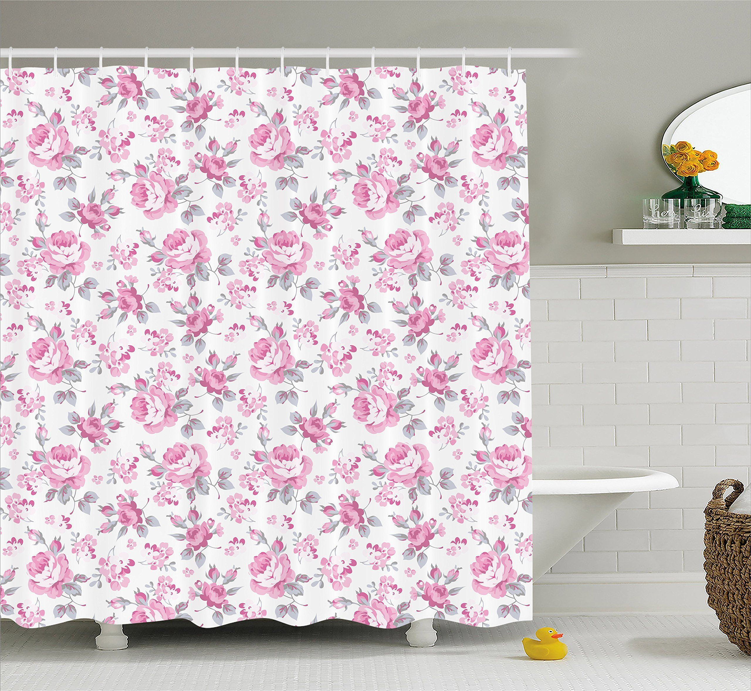 Shabby Chic Decor Shower Curtain By Ambesonne Pink Roses With Grey