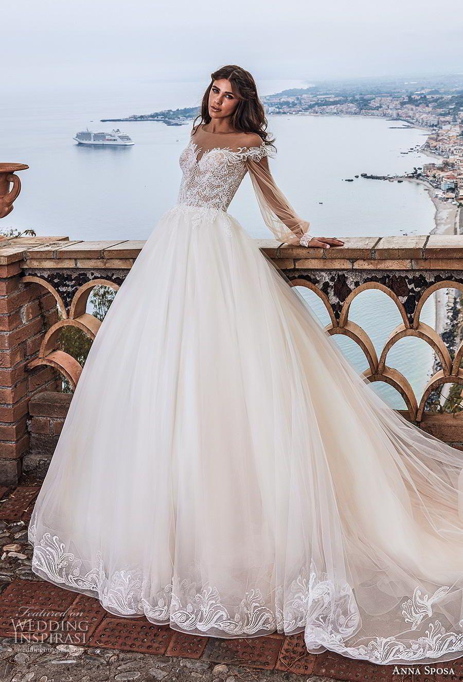 e27615ade722 anna sposa 2019 bridal long bishop sleeves illusion bateau sweetheart  neckline heavily embellished bodice romantic princess a line wedding dress  sheer ...
