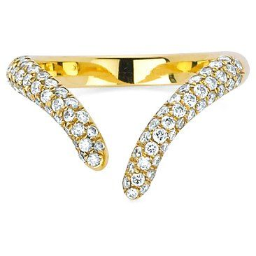 Check out this item at One Kings Lane! Diamond Tusk Wrap Ring, Yellow Gold