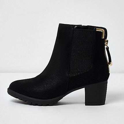 black zipped block heel chelsea boots