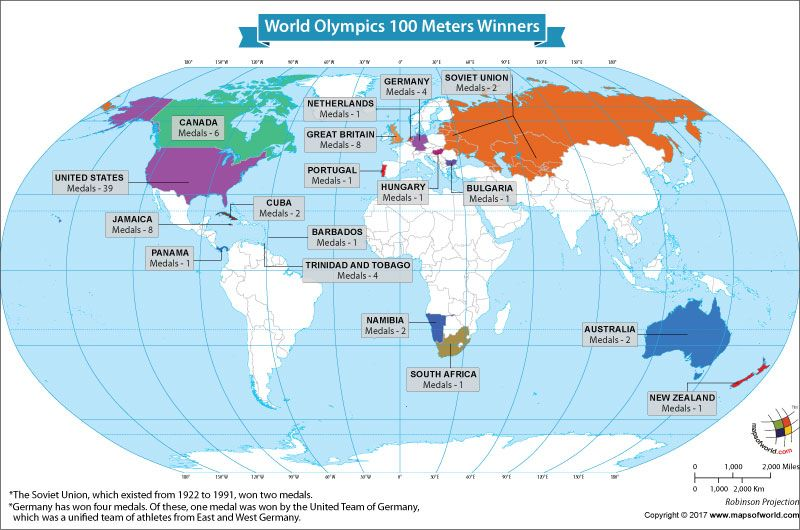 The 100 Map Of Earth.Winners Of The 100 Meters Race At The Olympics