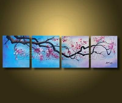 Handmade Abstract Cherry Blossom Flower Landscape Oil Painting On ...