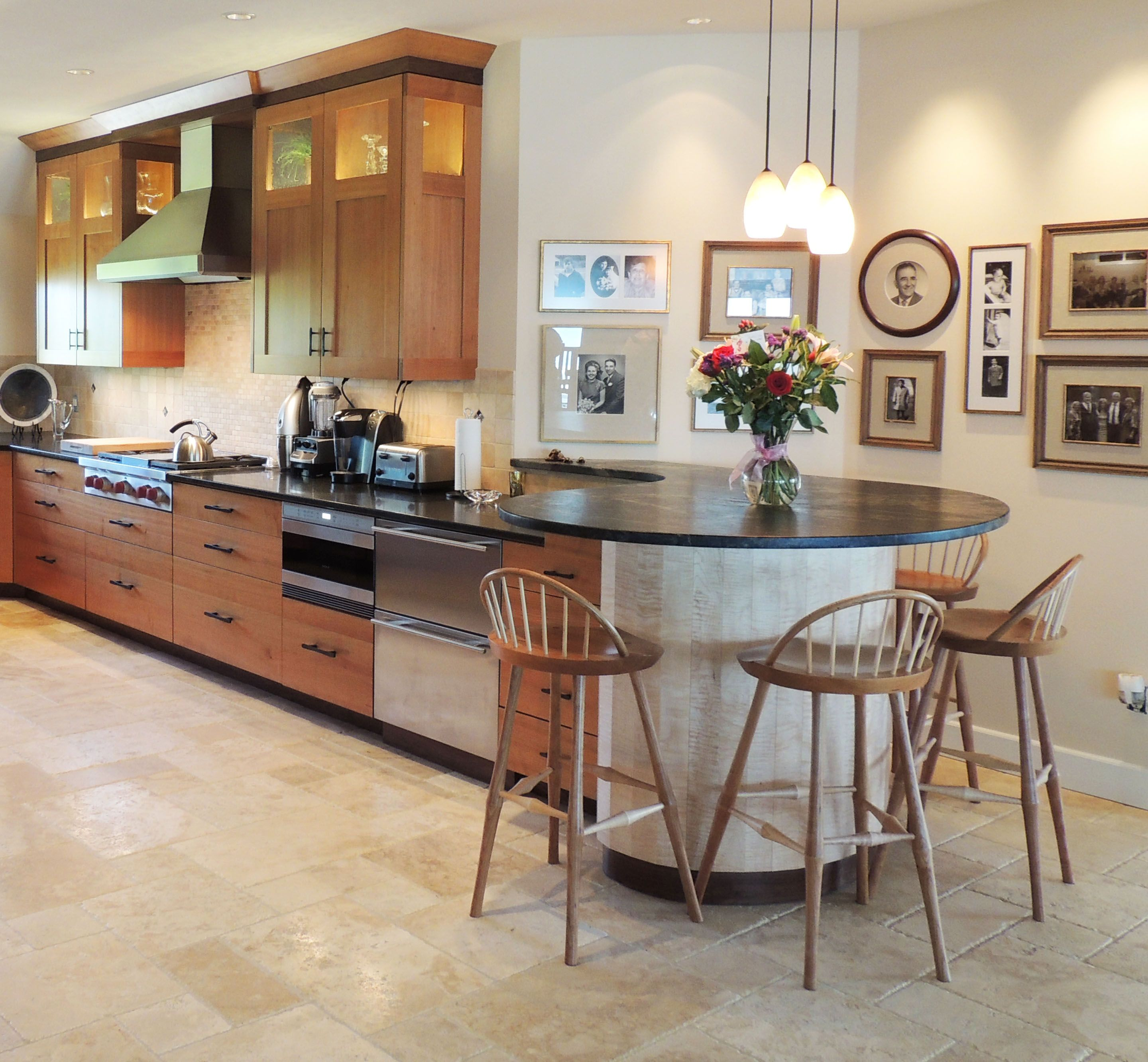 Cherry and curly maple kitchen by Hanford Cabinet ...