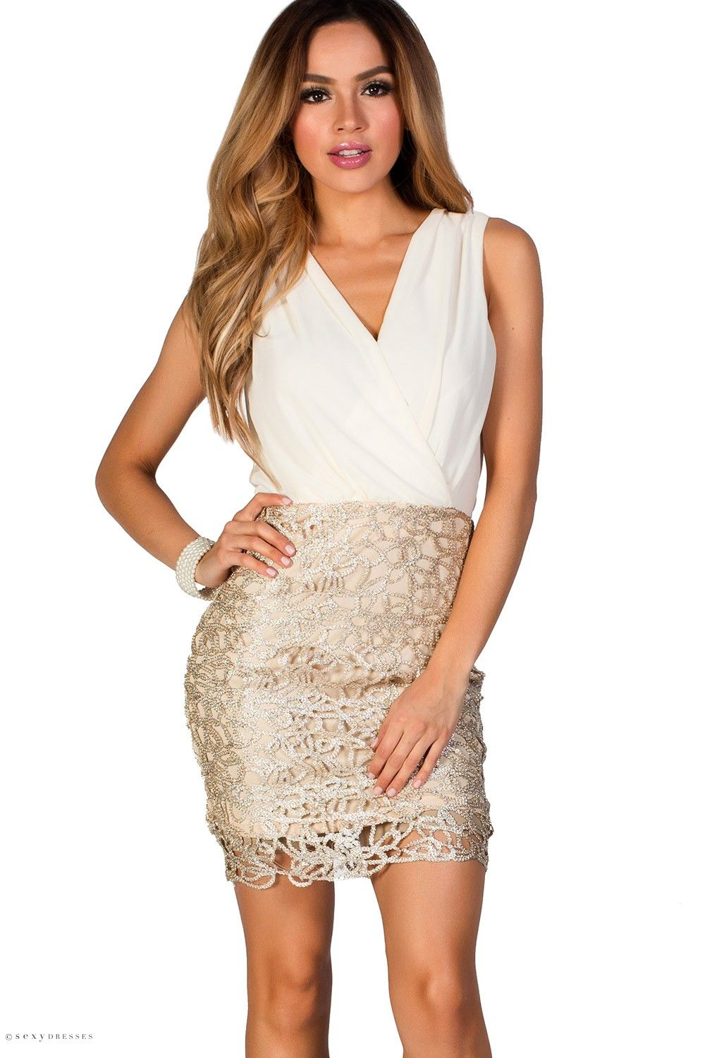 Sleeveless Cream Chiffon Blouson Cocktail Dress with Beige and ...