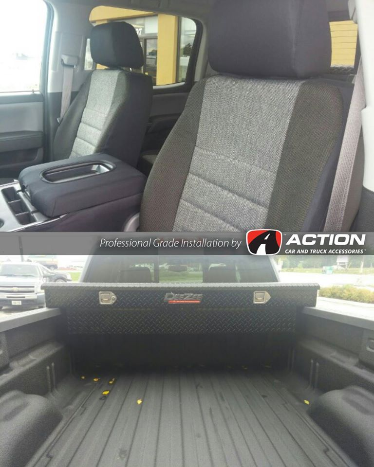 Tool Box By Dee Zee Truck Accessories Floor Liners By Husky Liners And Seat Covers By Fia Installed At Our Store In Husky Liners Floor Liners Truck Tool Box