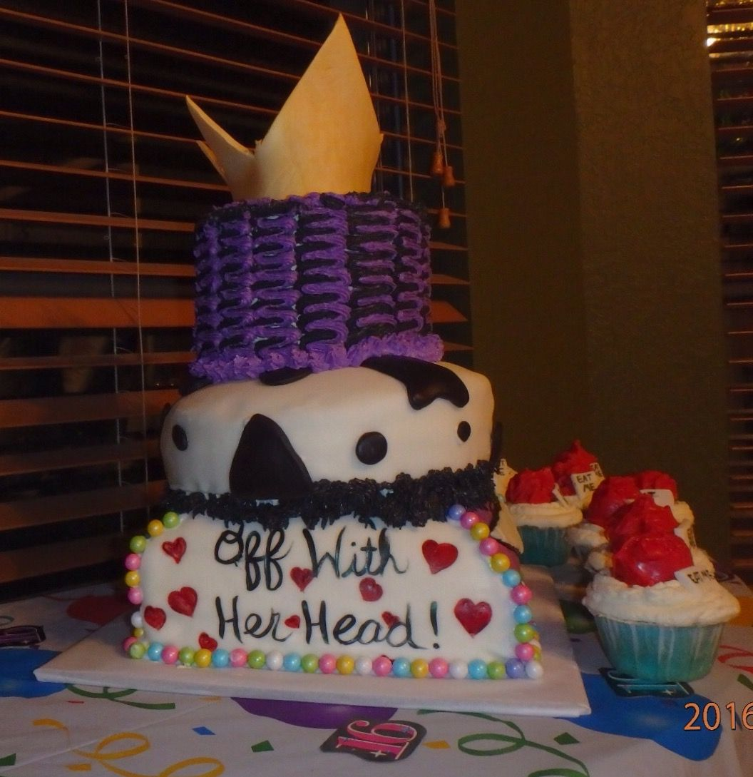 Disney themed cake; Bottom: Alice in Wonderland. Middle layer: 101 Dalmatians. Top: Evil Queen