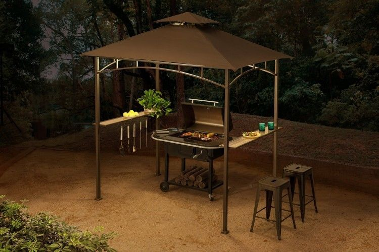 Outdoor Patio Grill Gazebo Canopy 8 X 5 Bbq Yard Tent With 4 Led Lights Brown Sunjoy Bbq Gazebo Grill Gazebo Grill Canopy