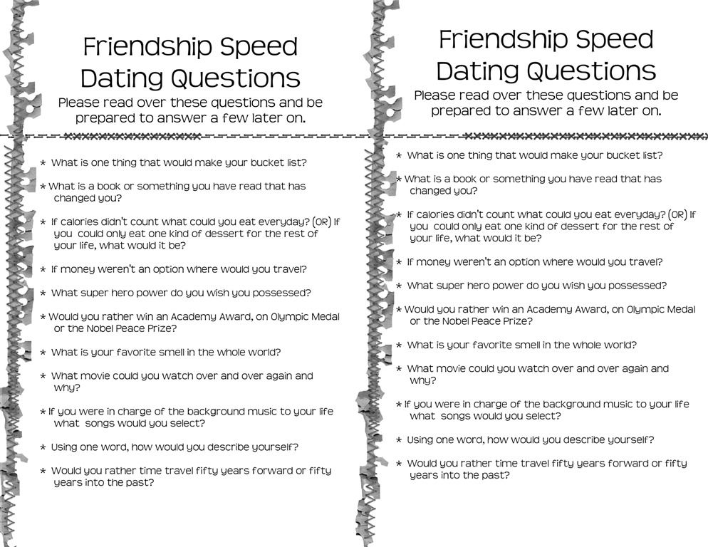 Speed dating questions ideas for fundraisers