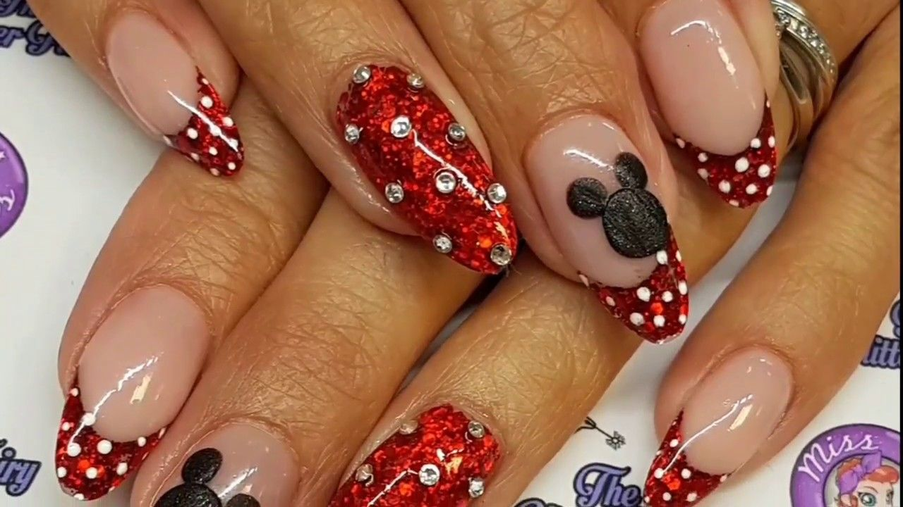 Disney Acrylic Nails Youtube Disney Acrylic Nails Disney Inspired Nails Disney Nails