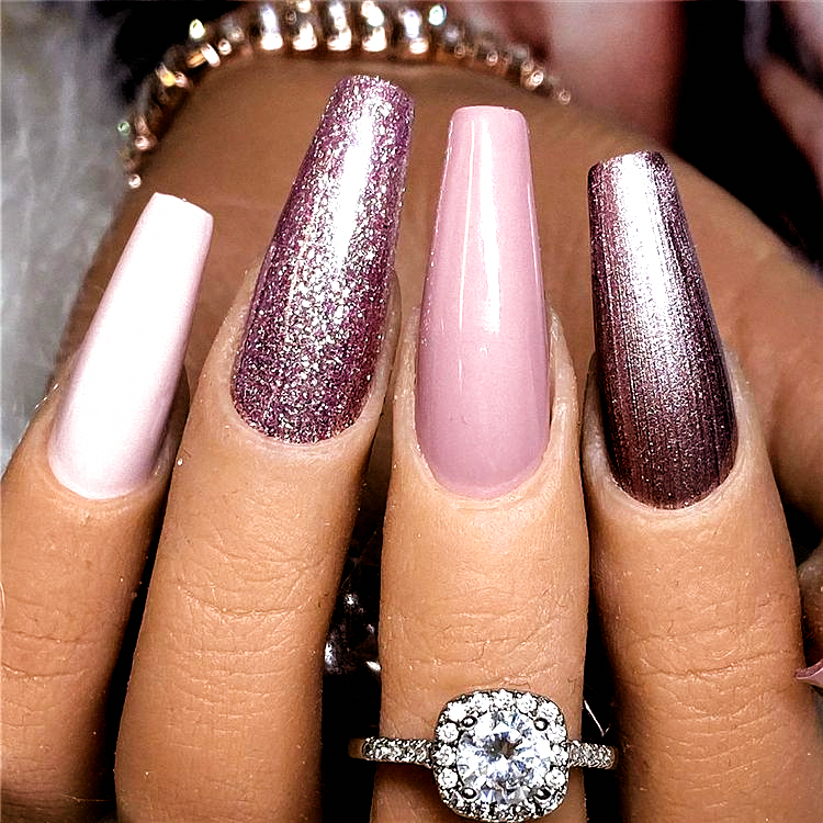 Stylish And Coolest Coffin Nail Designs To Start Your Wonderful Year 2020; Stylish Winter Nails; Cof