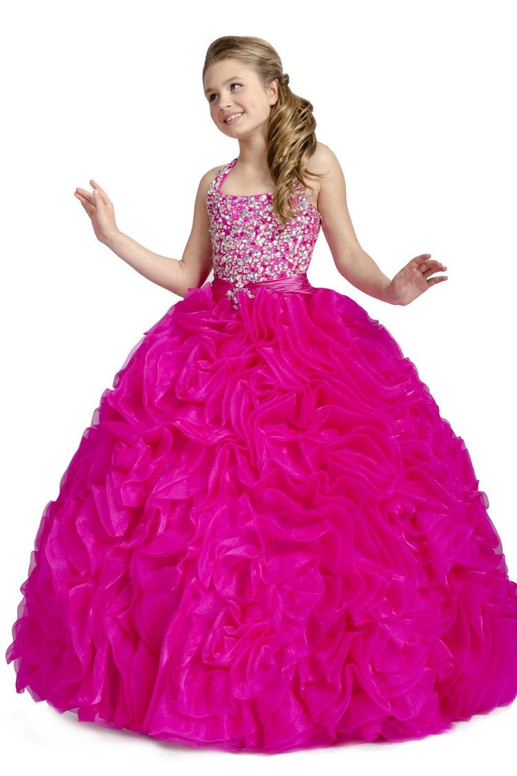 Halter Beading Organza Red Ball Gown Girls Pageant Dress | Girls ...