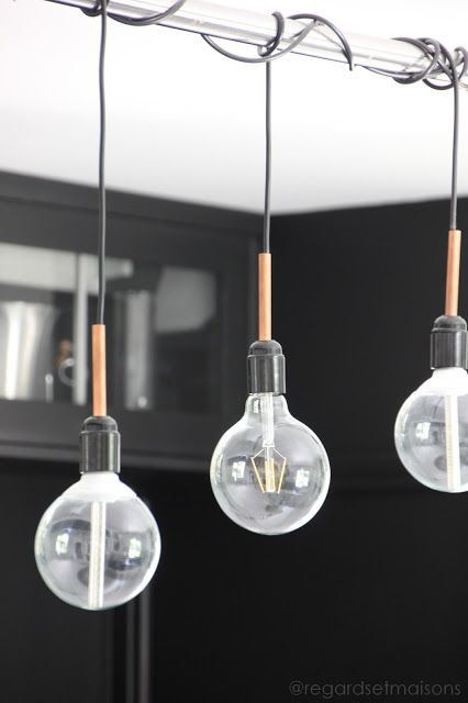 Comment j 39 claire ma cuisine avec une suspension homemade for Lampe suspension ampoule