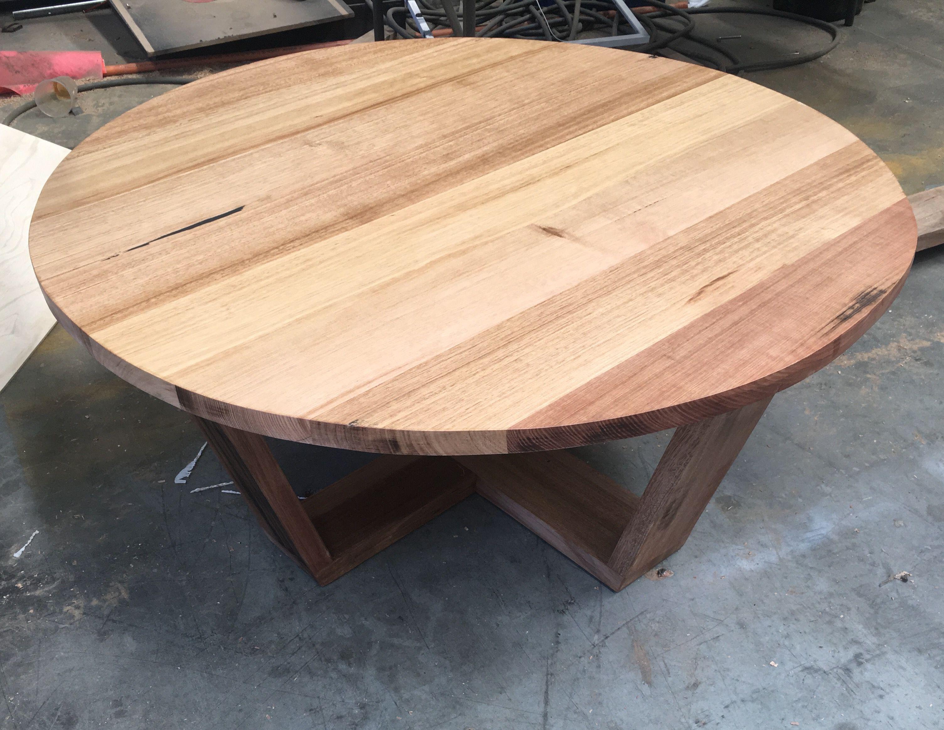 1m Diameter Recycled Tasmanian Oak Round Coffee Table Made By  Www.recycledtimberfurnitureoz.com