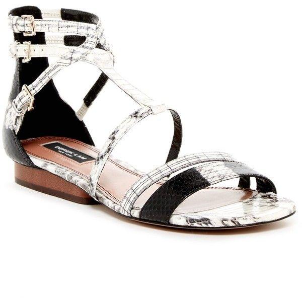 Derek Lam 10 Crosby Edria Snake Embossed Leather Ankle Strap Sandal Black And White Sandals Ankle Strap Sandals Designer Shoes On Sale