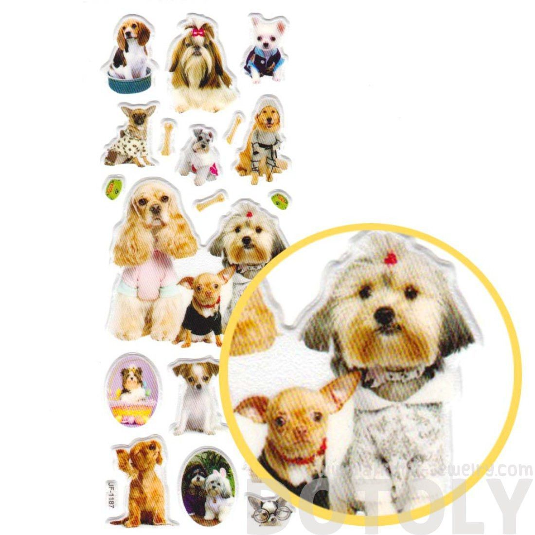 Realistic Puppy Dogs in Funny Costumes Shaped Animal Photo Stickers for Decorating