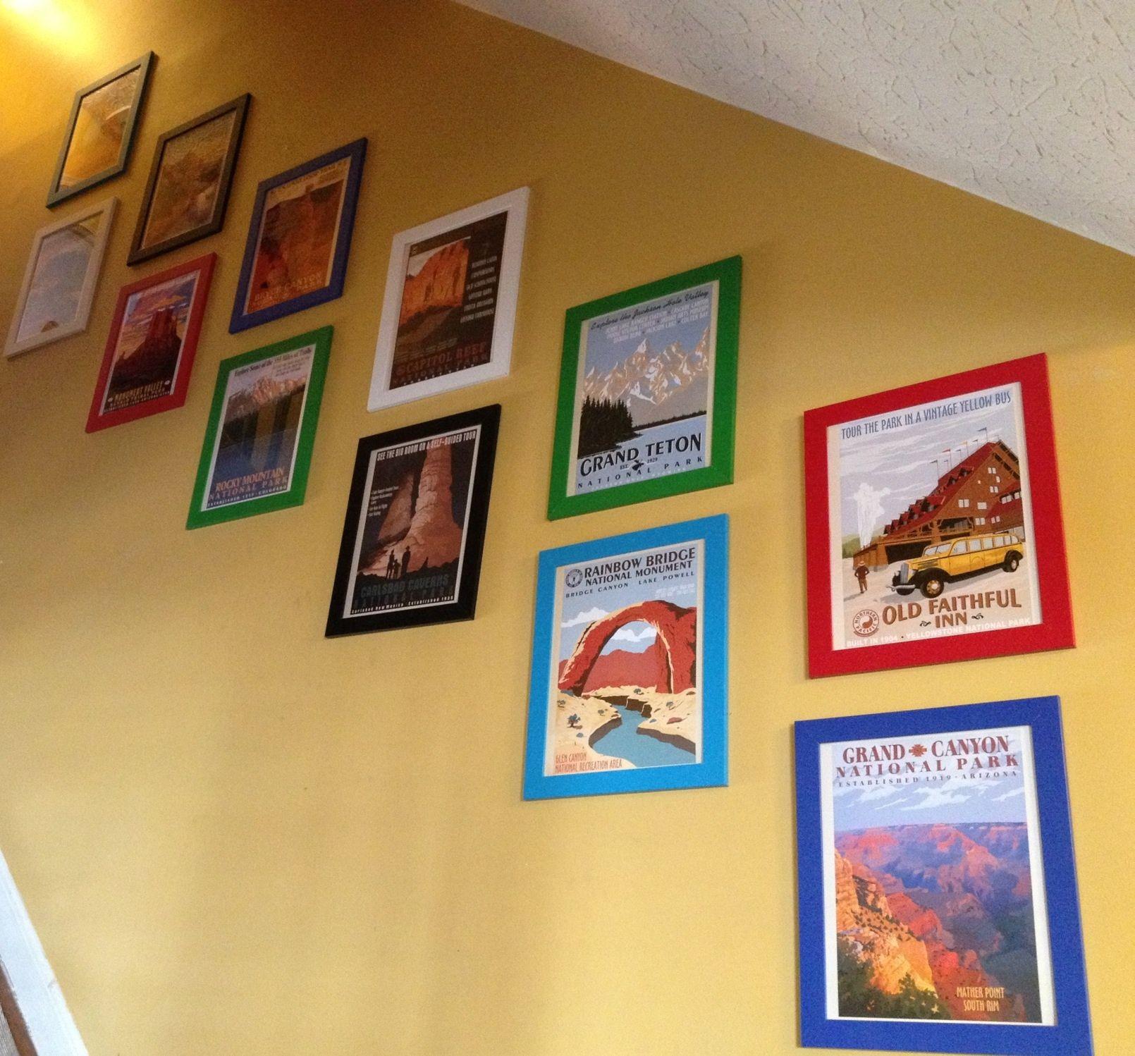 Vintage National Park Posters Ikea Frames Best Stairway Ever Boy Decor Vintage National Park Posters Family Room Decorating