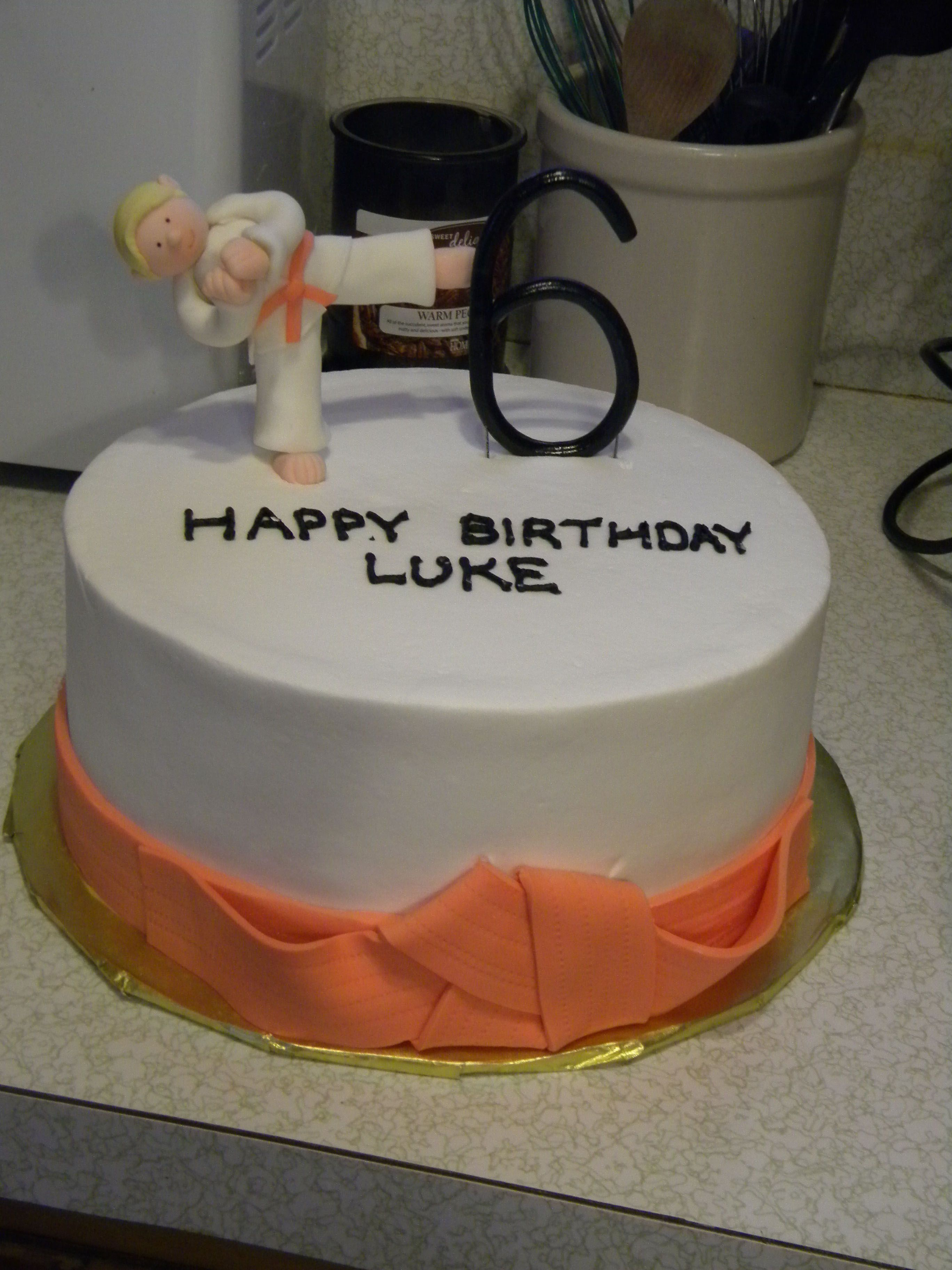 Karate Kid 6th birthday cake for my friends son who is an orange