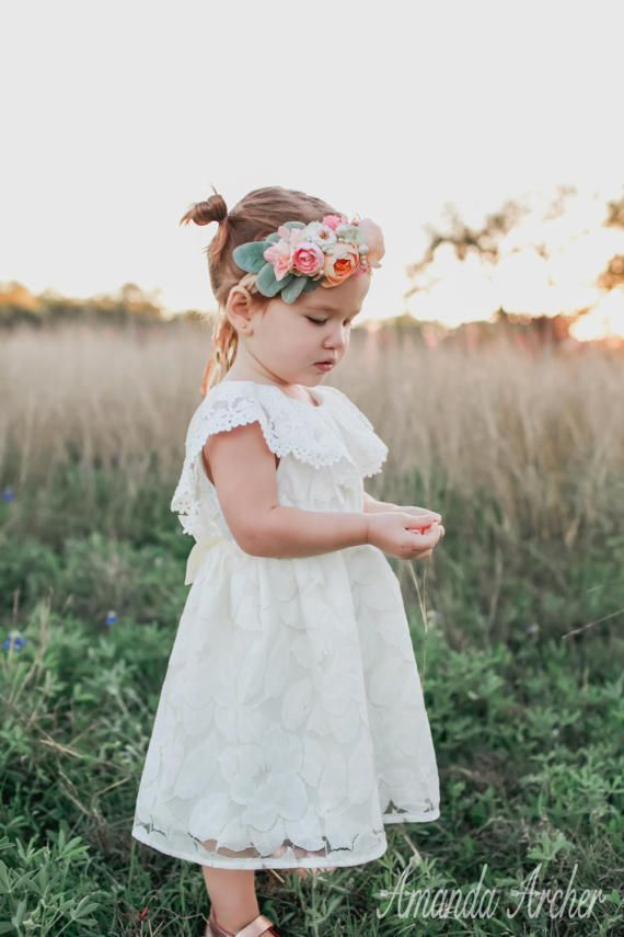 a17462d038 Beautiful, unique Flower Girl Toddler Special Occasion Dress, Off White  Lace by Amanda Archer