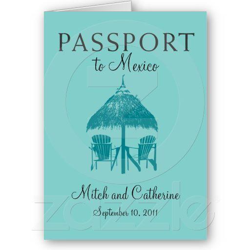 Wedding Passport Invitation to Mexico Cards