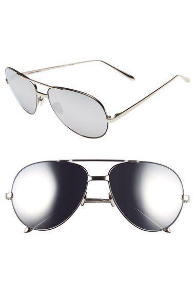 444ab94772a LINDA FARROW 59mm 18 Karat White Gold Trim Aviator Sunglasses.  lindafarrow
