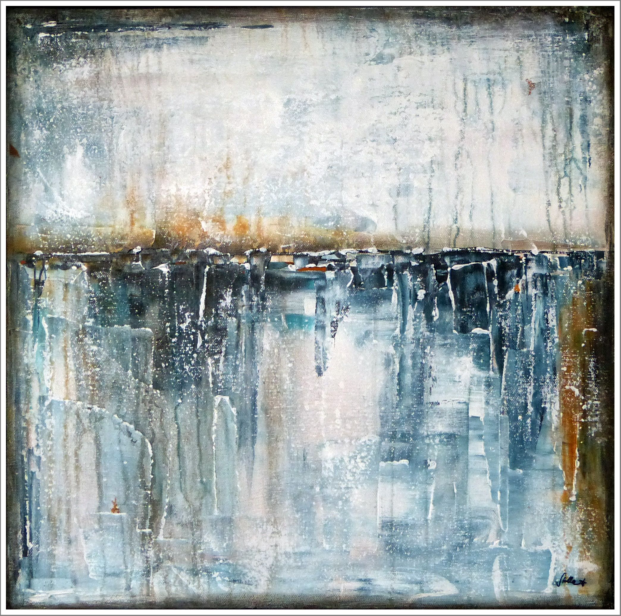 stella hettner silver river blues 50x50 abstrakte malerei kunst tapete abstrakt abstraktes bild malen kaufen